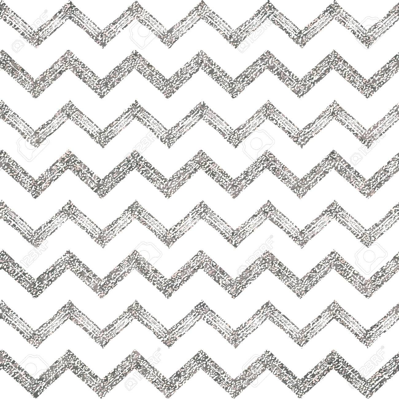 Seamless Pattern Of Silver Glitter Zigzag Chevron Silvern Background Zig Zag Stripe Hand