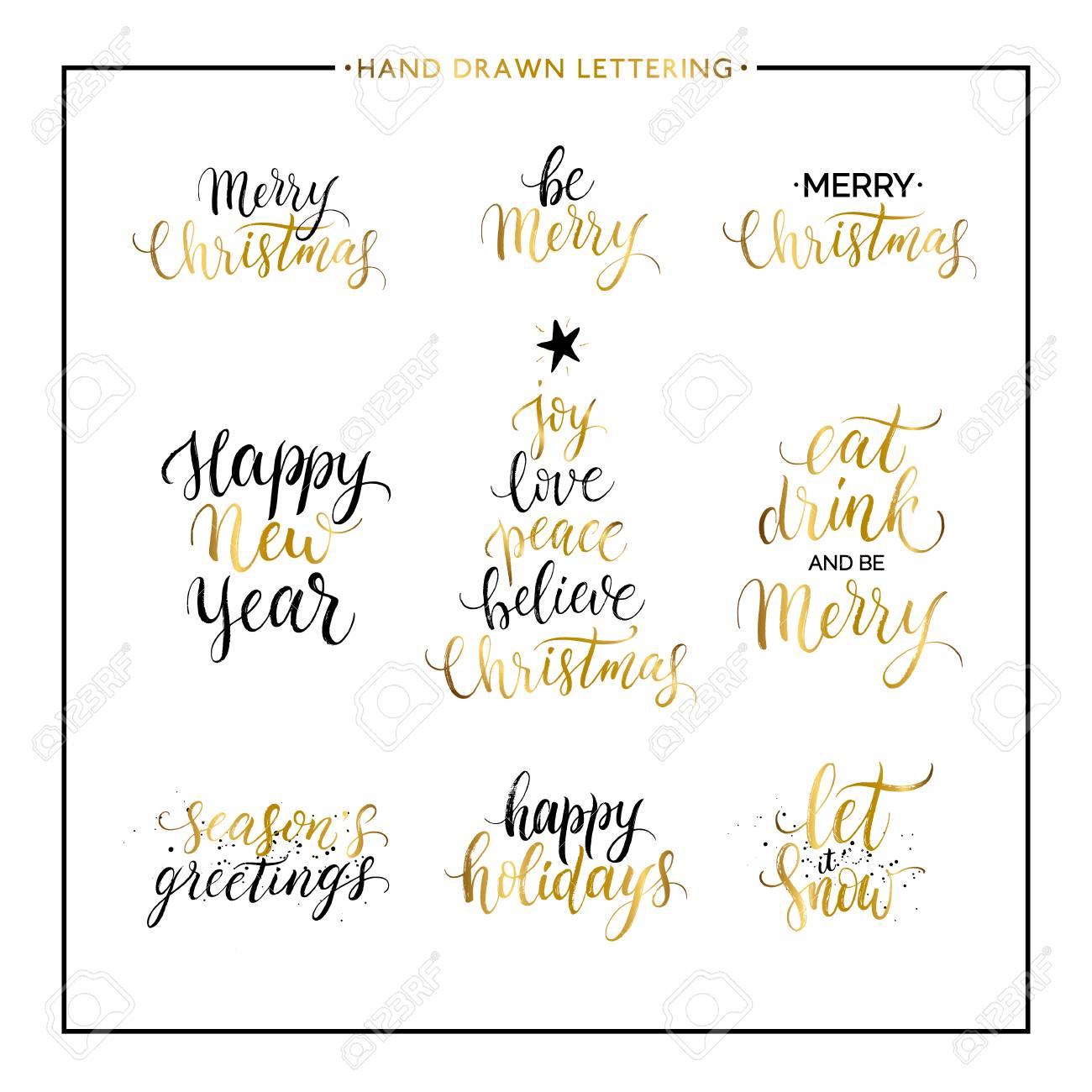 Phrases Et Citations De Noël Et Du Nouvel An Joyeux Noël Joyeuses Fêtes Salutations De Saisons Laissez Le Neiger Manuscrite Or Lettrage De Noël