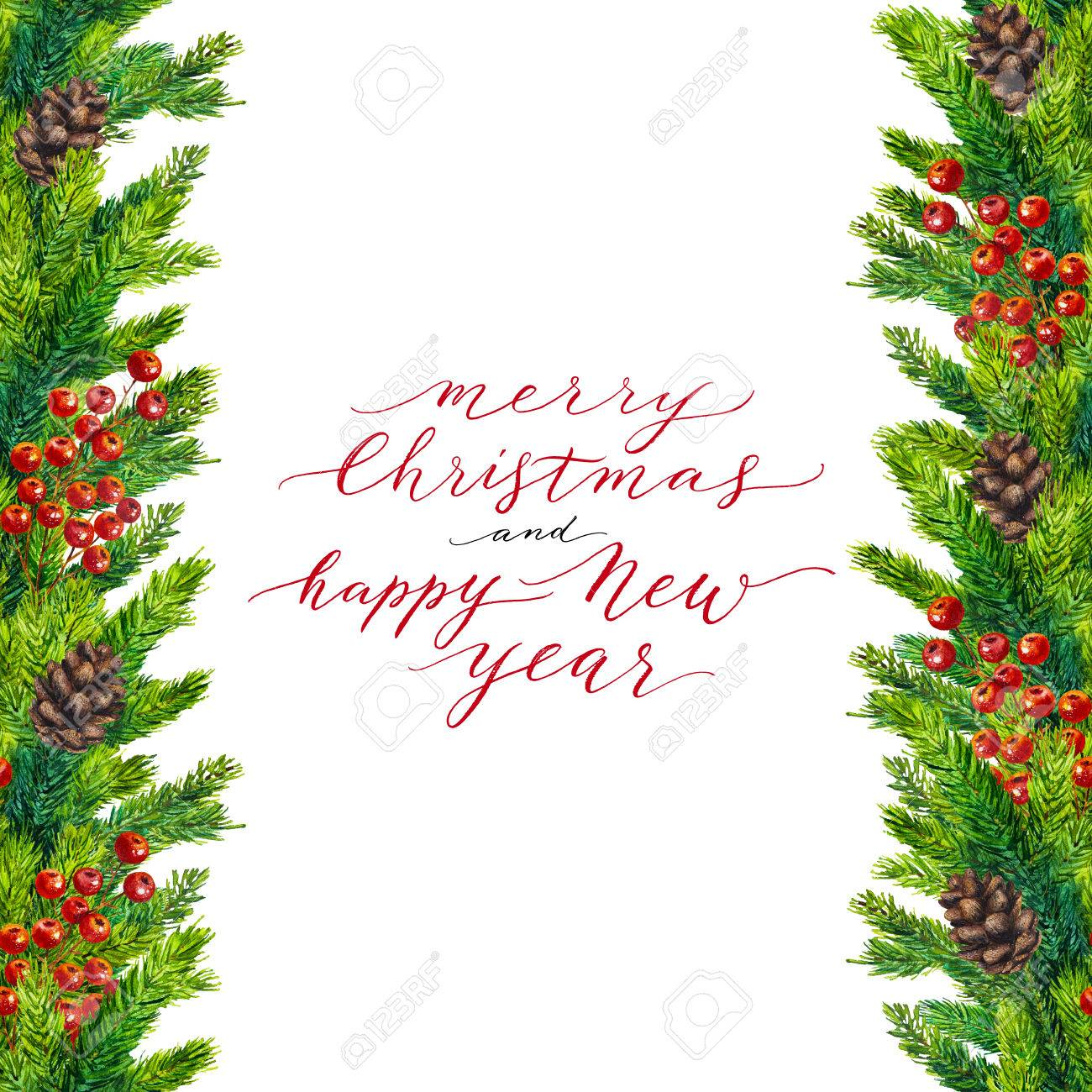 merry christmas and happy new year text on watercolor christmas border of fir branches cones