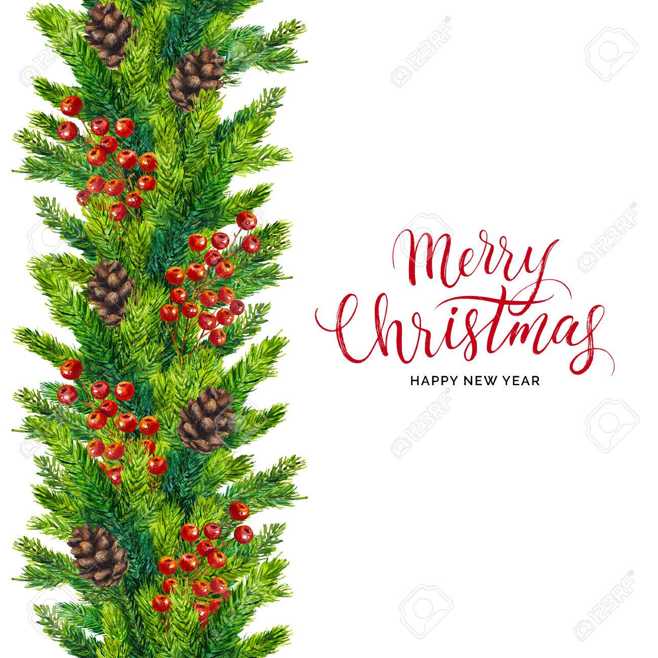 Christmas Card Border.Merry Christmas Card Xmas Text On Watercolor Seamless Border