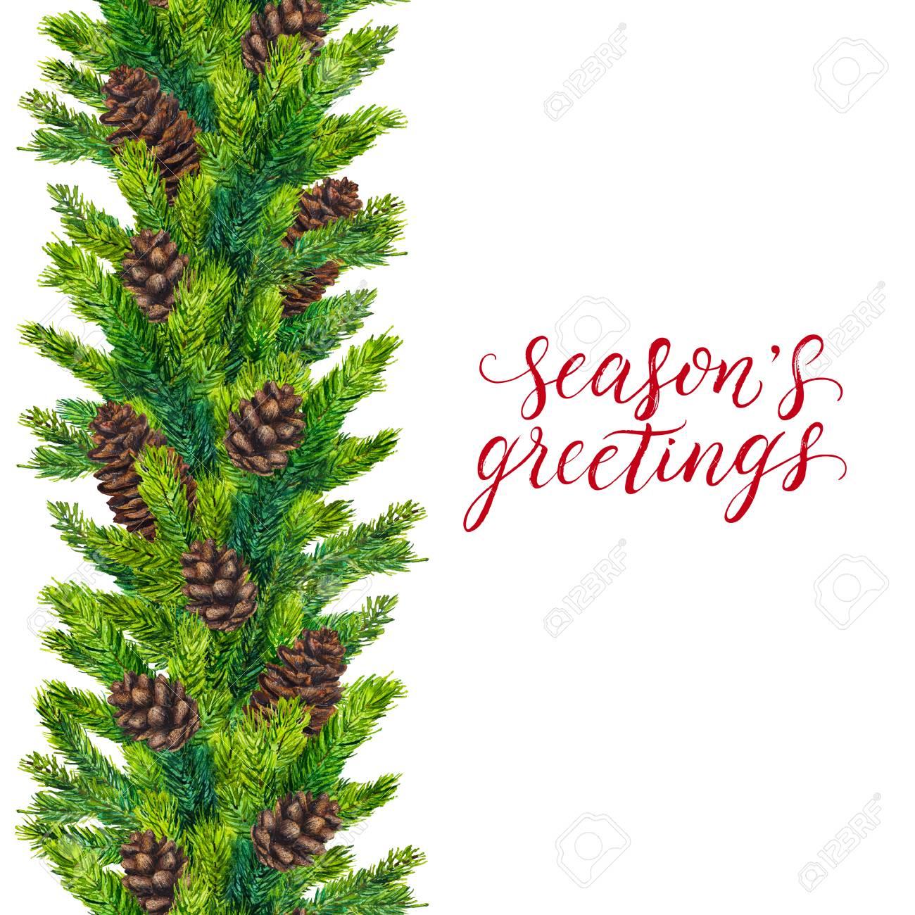 Seasons Greetings Text On Watercolor Christmas Border Of Fir.. Stock ...