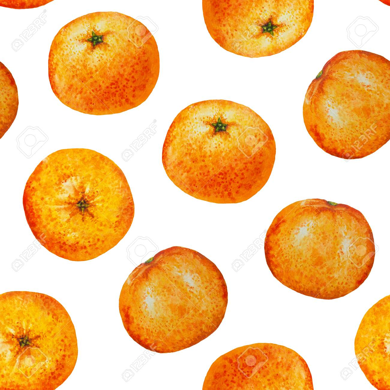 Seamless pattern watercolor orange tangerine, Seamless background of watercolor fruit mandarin for flyer, poster