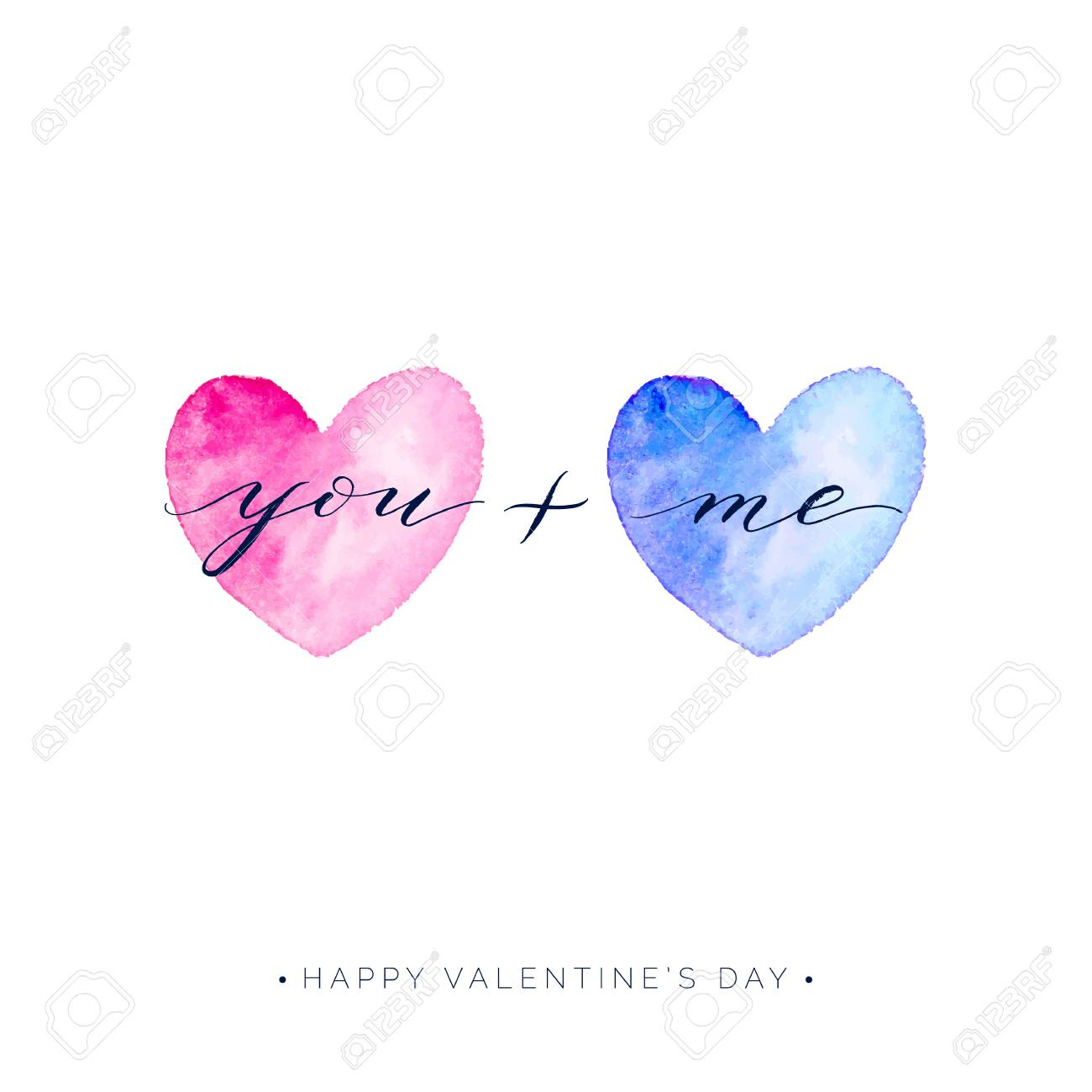 Happy Valentines Day Card You And Me Text On Watercolor Heart