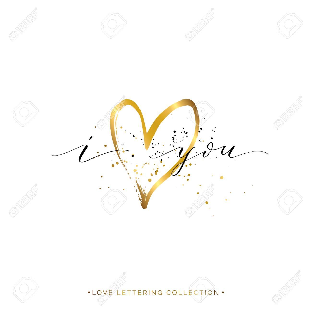 Feliz Día De San Valentín Tarjeta Te Amo Texto Con Corazón De Oro Y Salpica Vector Dorado Amor Letras Para Tarjeta De Felicitación Invitación