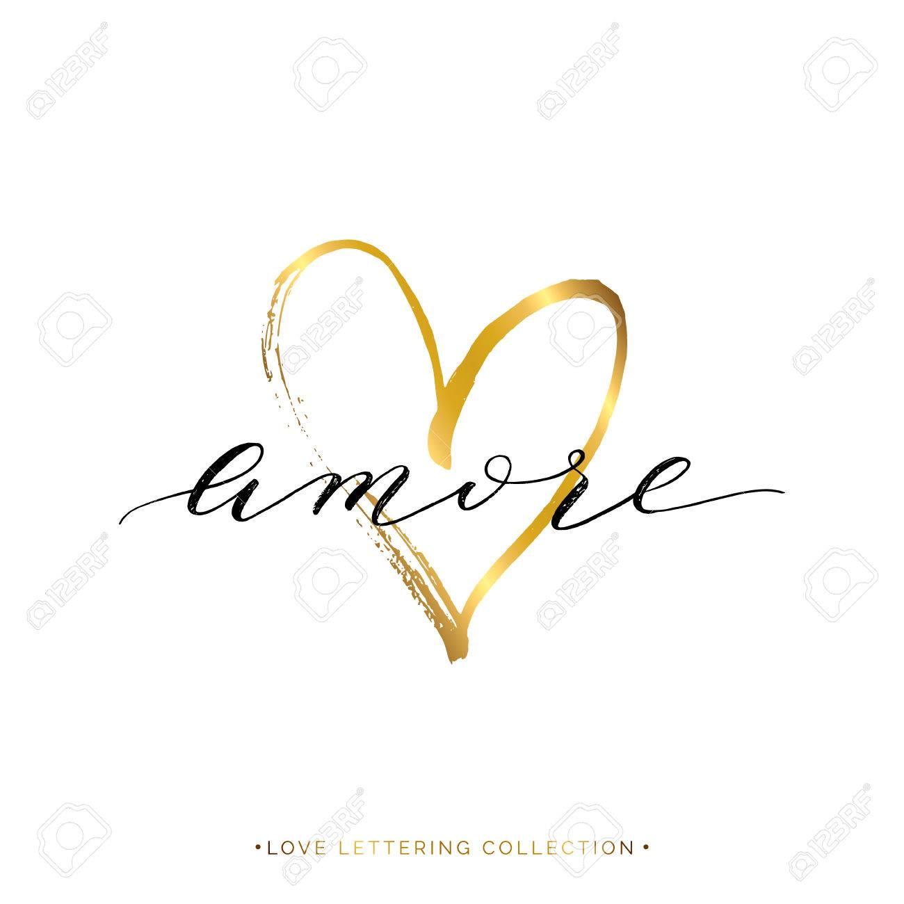 Amore Text Mit Gold Herz Isoliert Auf Weißem Hintergrund, Liebe In  Italienisch, Handgemalte Brief