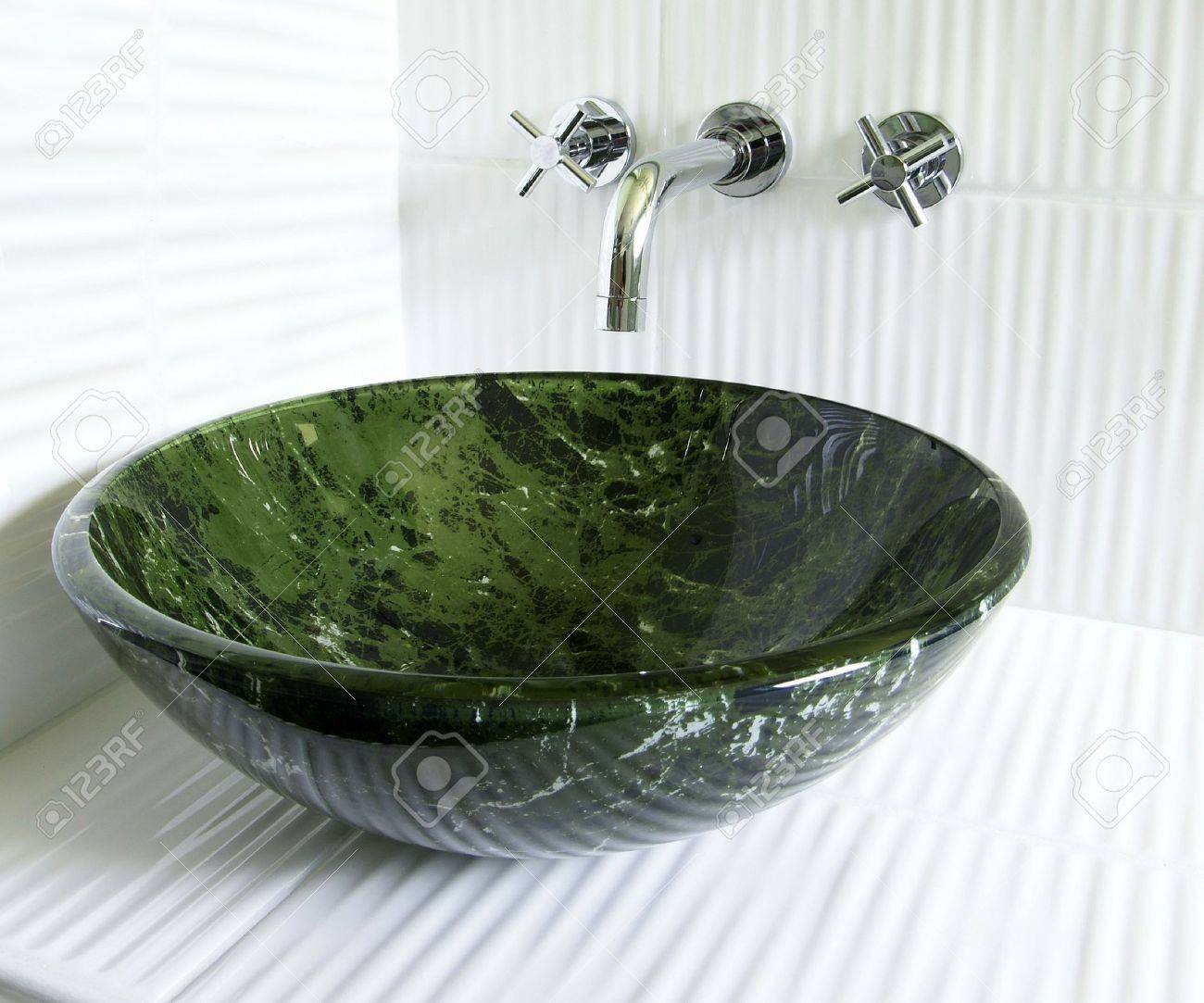 Modern Renovated Bathroom With Tempered Glass Green Marble Imitation Vessel  Sink And Superb Old Style Wall