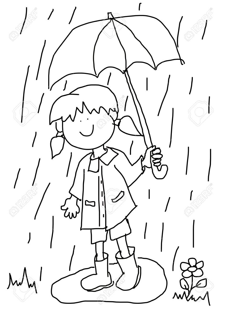 Grand Personnage De Dessin Animé Enfantin Petite Fille Avec Un Grand Sourire Tenant Un Parapluie Et De Jouer Sous La Pluie En Marchant Dans Une