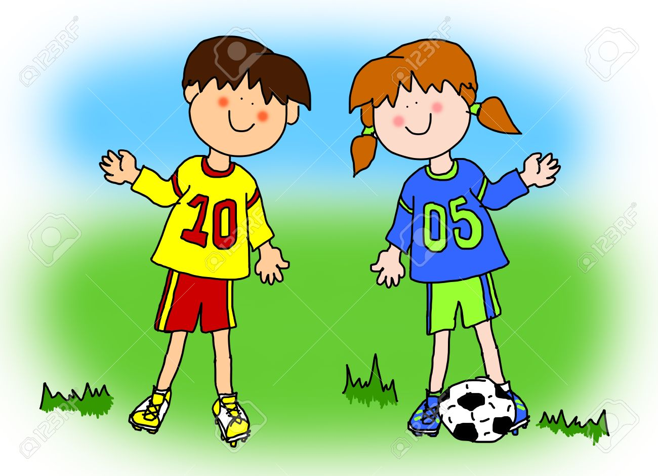 Fun Boy And Girl Cartoon Outline Playing Soccer Or Football In Their Team Uniform Large