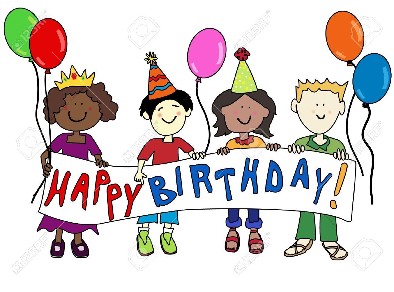 Frohlich Multikulturellen Cartoon Kinder Halten Einen Happy Birthday Banner Standard Bild