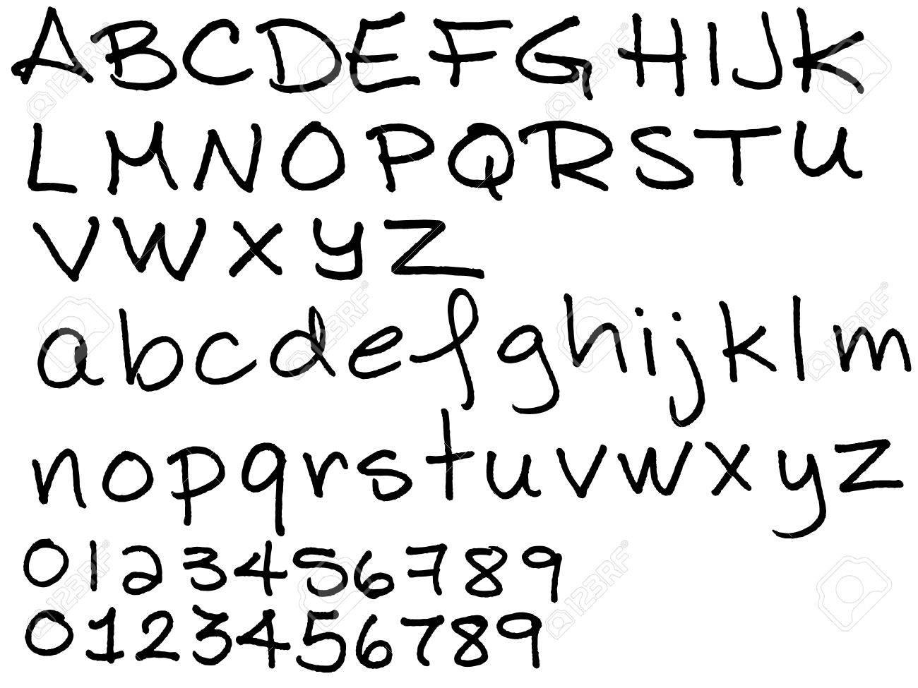 Worksheet Handwritten Alphabet handwritten alphabet scalien in black ink imitation with bleeding on
