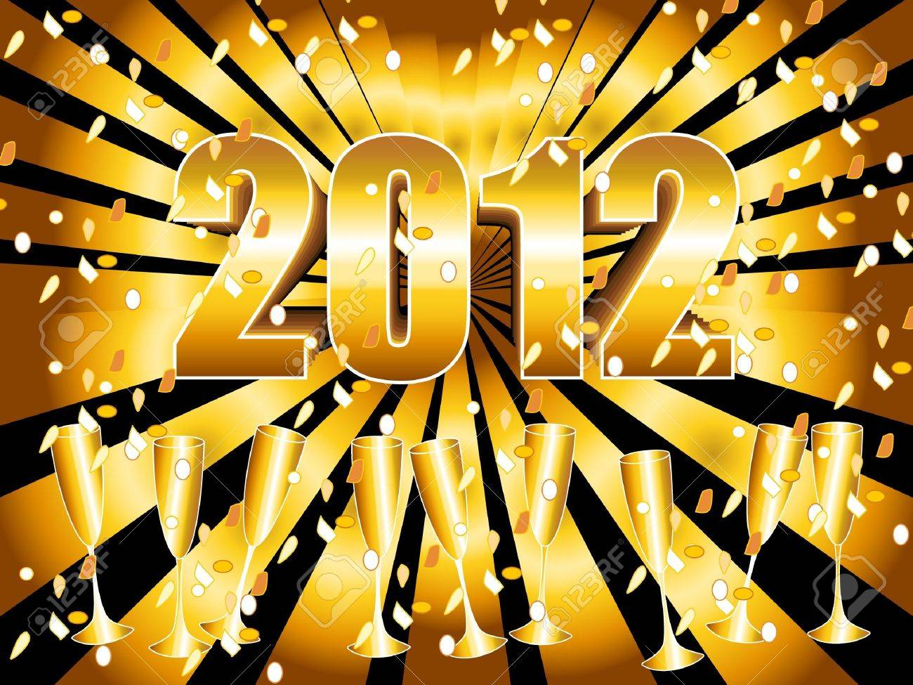 Fun and festive 2012 New Year's Eve celebration background with gold sunburst, champagne glasses and confetti. Stock Vector - 9930166