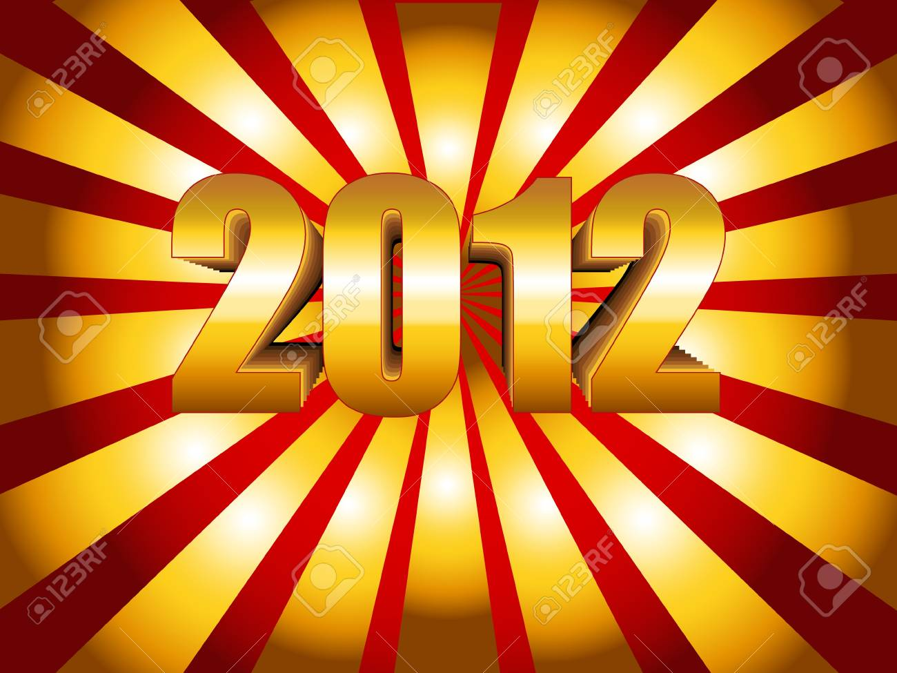 Fun and festive 2012 New Year's Eve celebration background with gold sunburst over gradient red. Stock Vector - 9930174