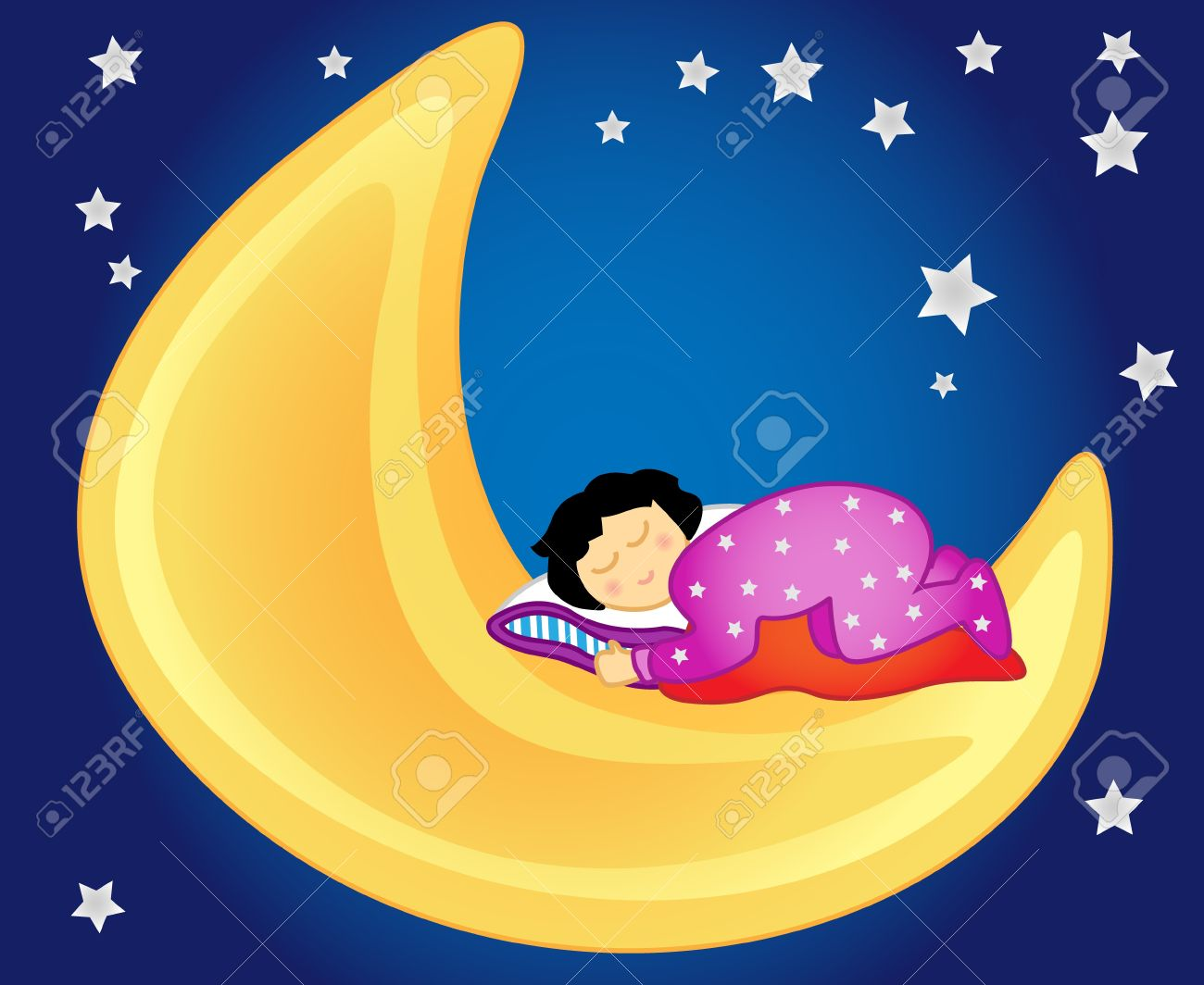 Fun and peaceful: little girl sleeping on the moon in the sky amongst the stars, perfect for a kids room. Stock Vector - 10129356