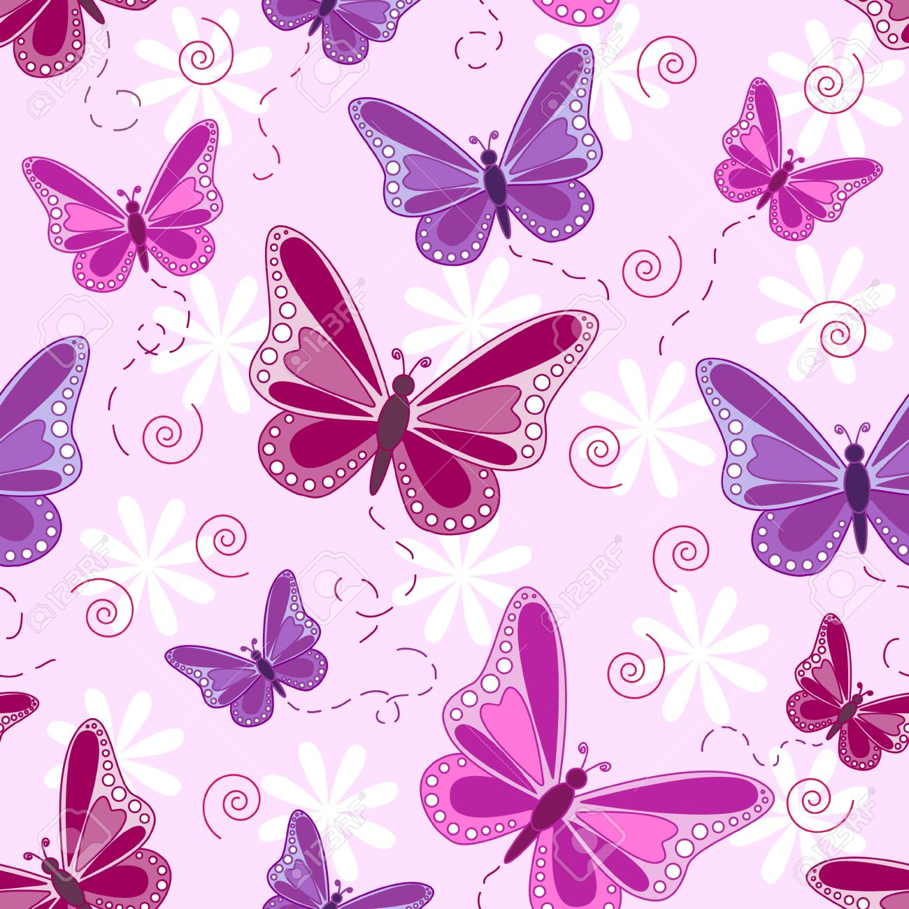 Vettoriale Seamless Pattern Di Volo Di Farfalle In Tonalità Di