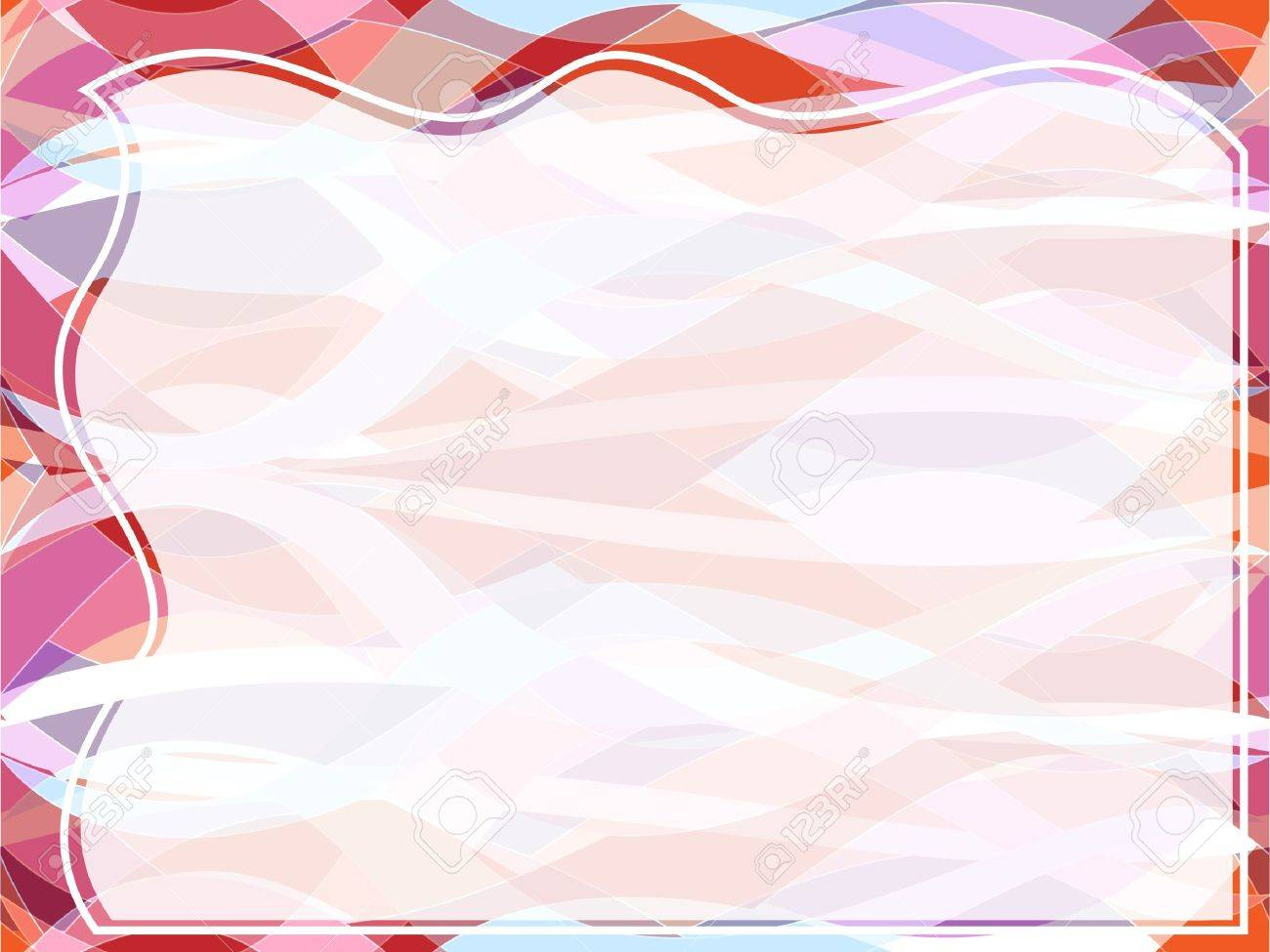 Fun reto style seamless wavy pattern in shades of red, pink, orange and white with transparencies and copy space on blank tile, perfect slide background, frame or border. Stock Vector - 10516448