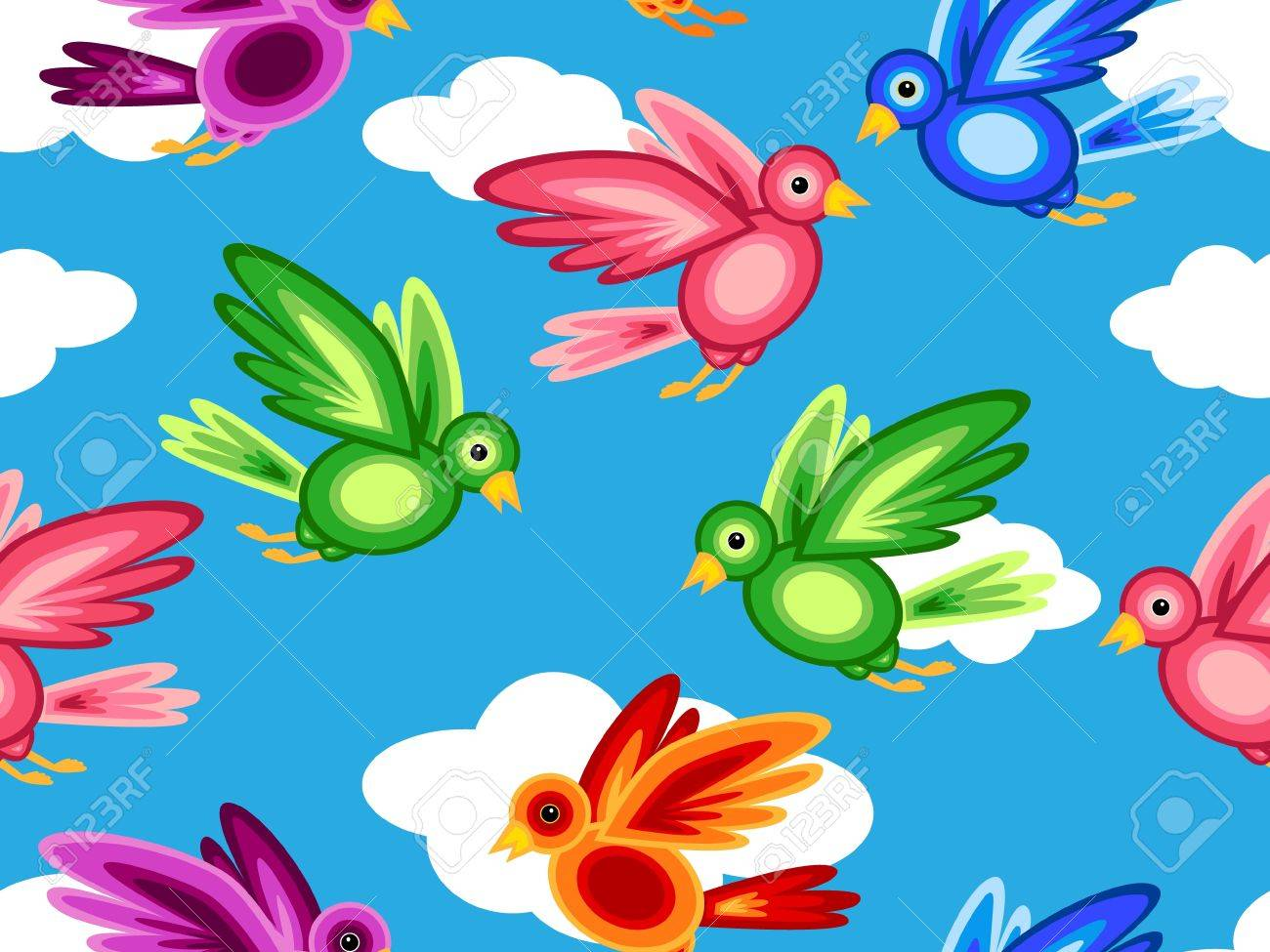 Seamless Pattern Of Graphic Colorful Birds Made Of Shapes Flying Royalty Free Cliparts Vectors And Stock Illustration Image 10529228