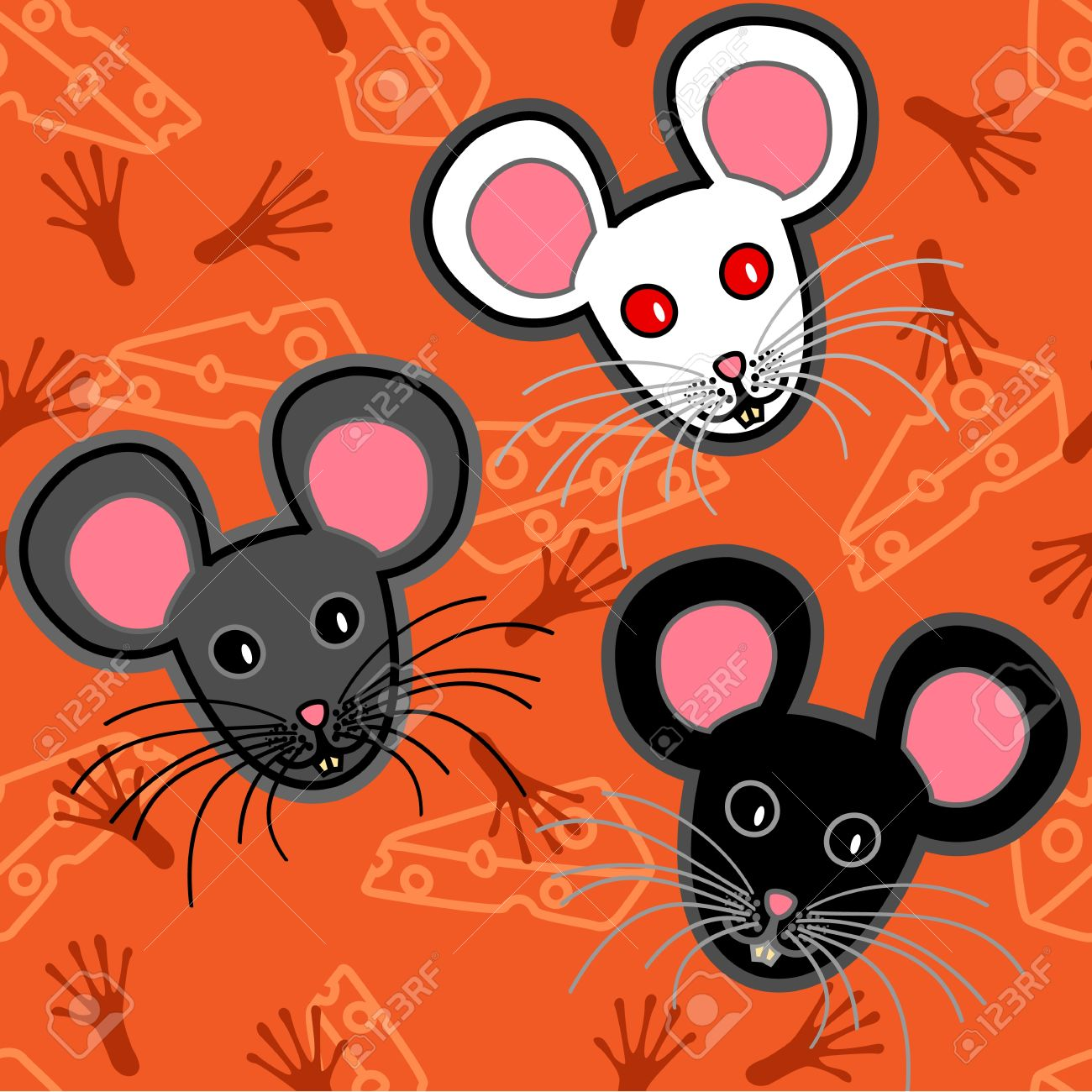Seamless pattern of cute and fun graphic cartoon grey, black and white mice, with cheese and paw print or tracks over orange backgroun. Stock Vector - 10828973