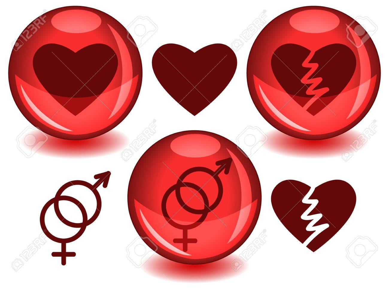 Love Related Symbols Heart Broken Heart And Entwined Male Female