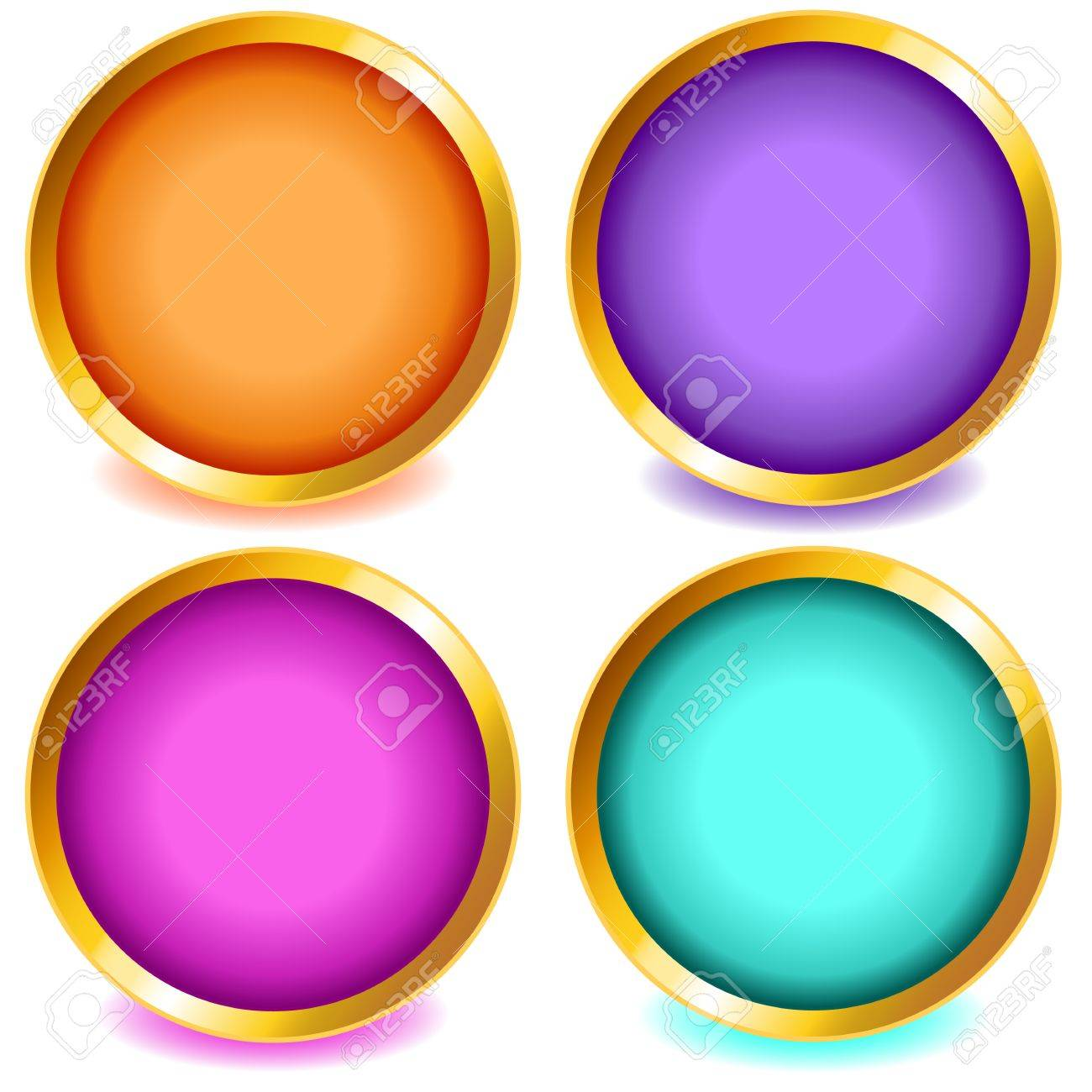 39929a917198 Fun colorful web buttons with drop shadows in orange, pink, purple, aqua  with