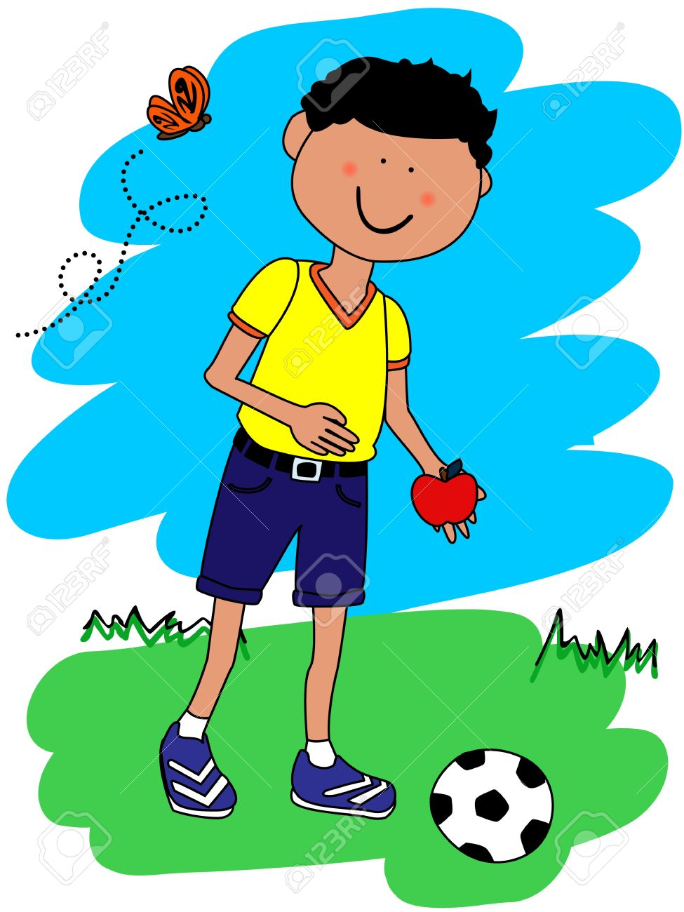 Cute little boy cartoon character going to school with his football or soccer ball and apple Stock Vector - 11029743