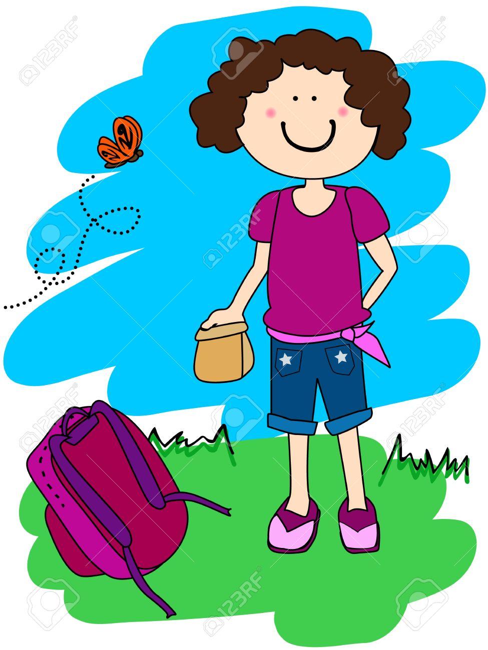Mignon Petit Personnage De Dessin Animé Fille Aller à Lécole Avec