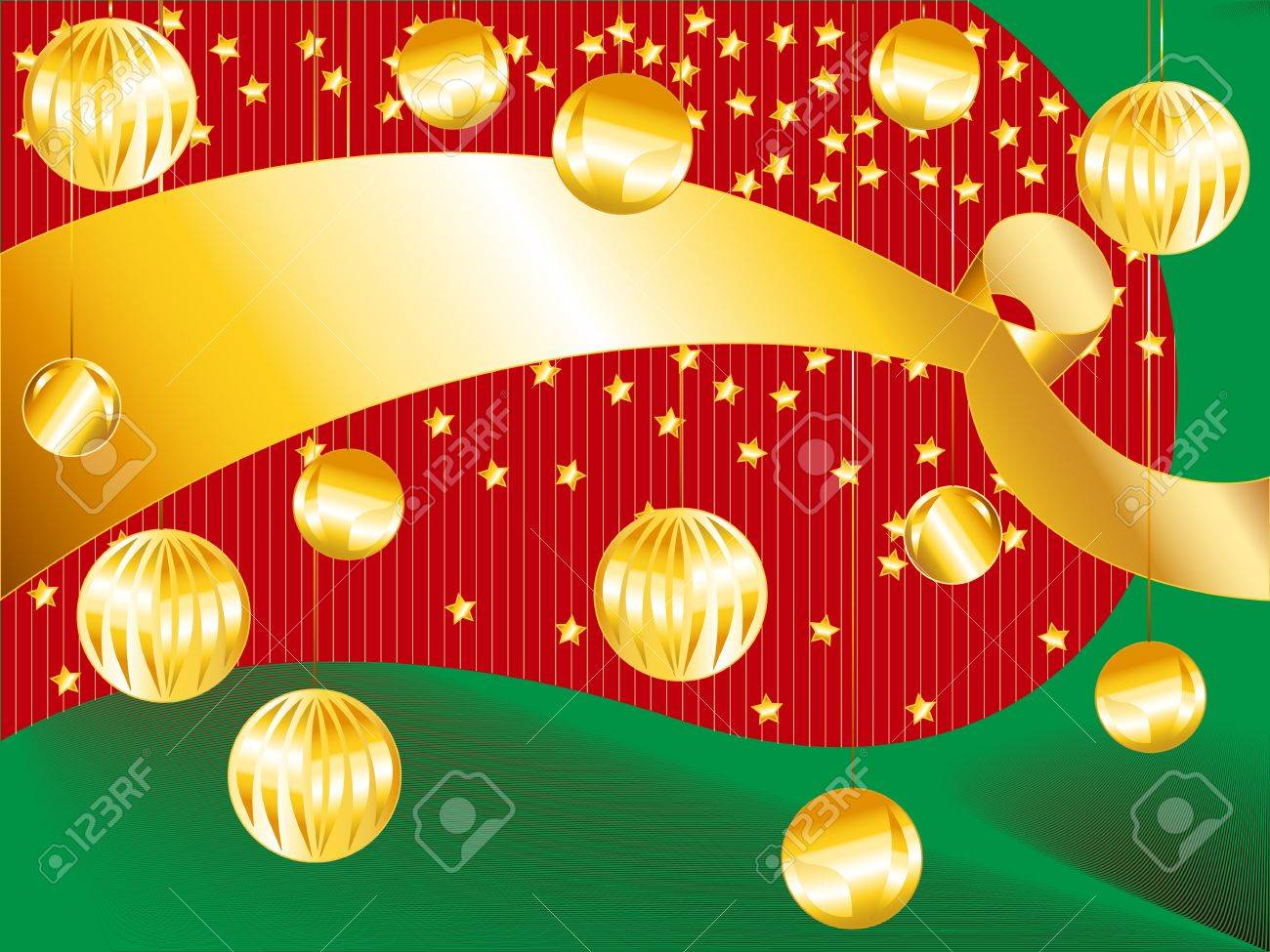 Perfect Holiday Card With Gold Ribbon And Christmas Ornaments On Funky Red  And Green Wavy Striped