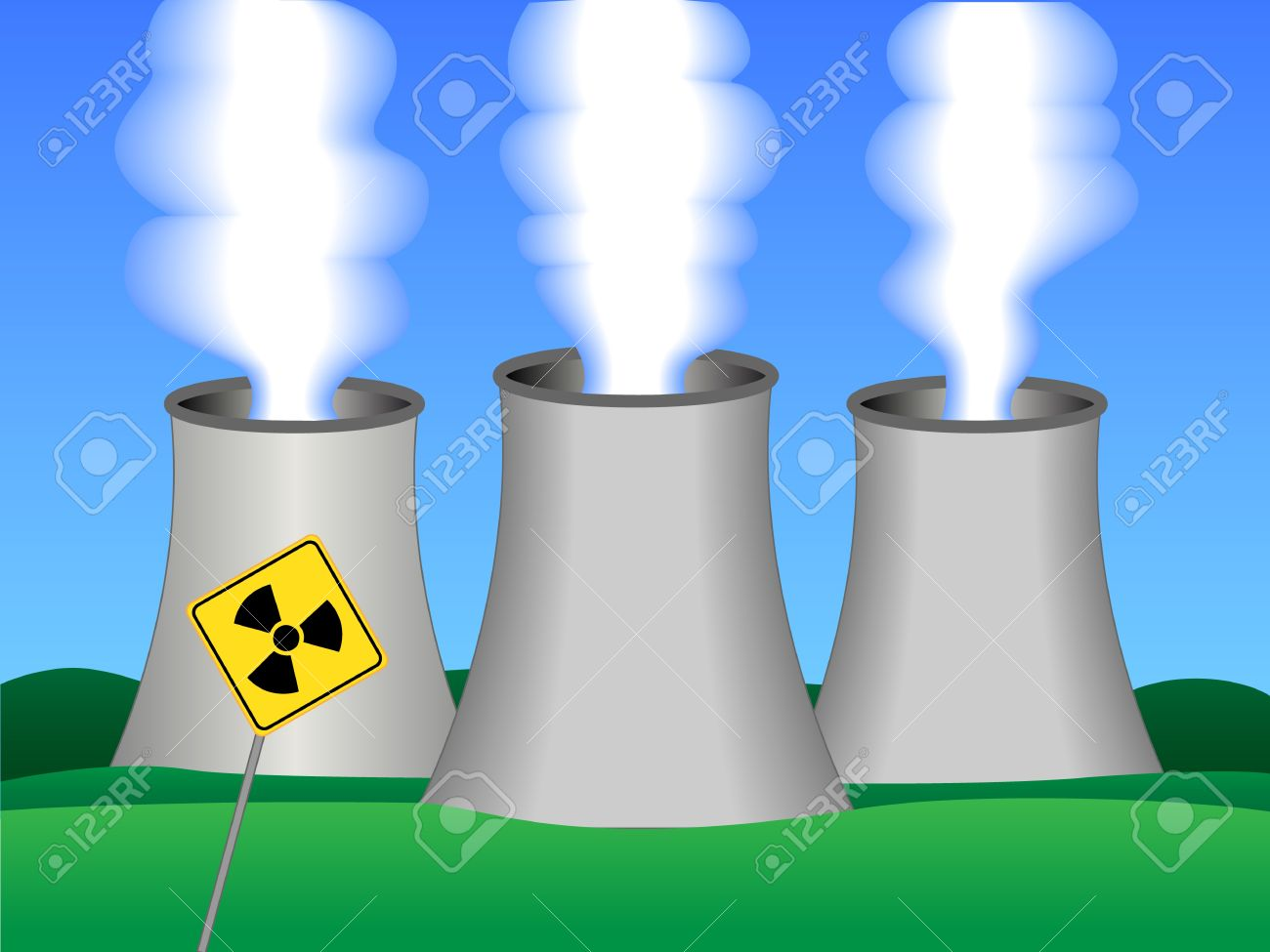 Dibujo Simple De Una Planta De Energía Nuclear Con Tres Torres De