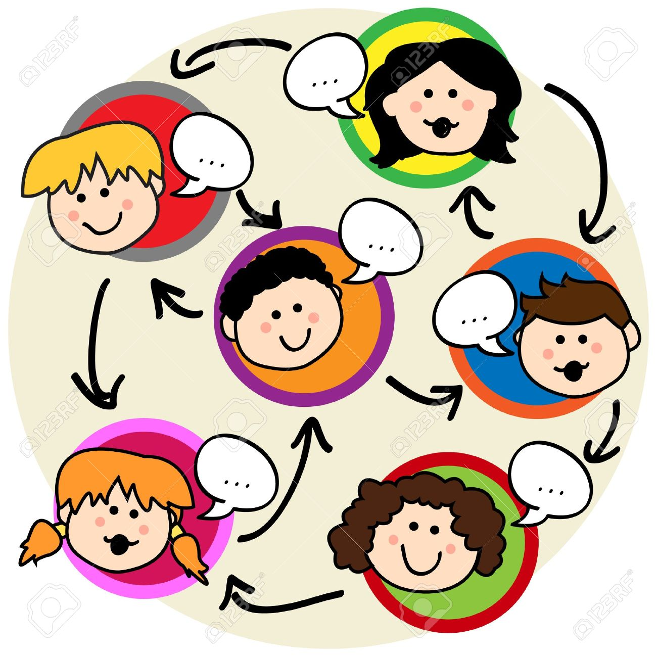 Social network concept: fun cartoon of kids talking and being interconnected - 12064224