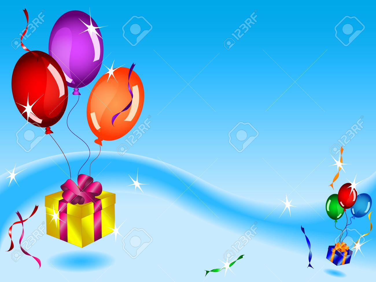 Fun Colorful Birthday Card Or Background With Floating Gifts Balloons And Ribbons In Blue Sky