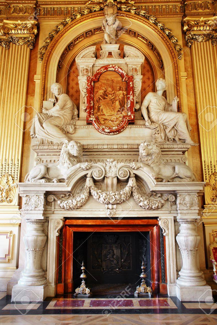 magnificent marble fireplace with people and lions in european