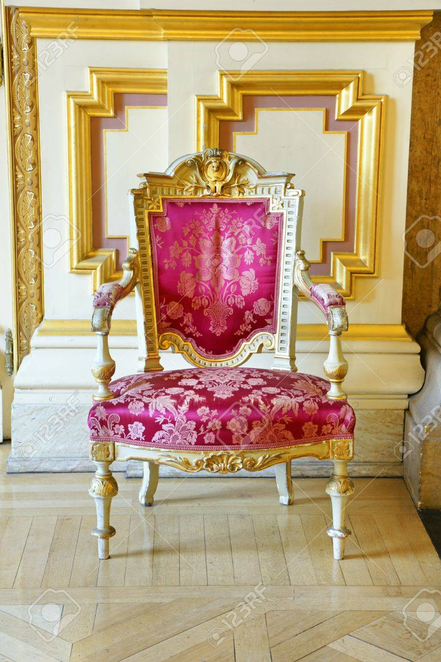Beautiful Rich And Luxurious Old Vintage Antique Pink Silk Chair With Gold  Frame Showing The Wears