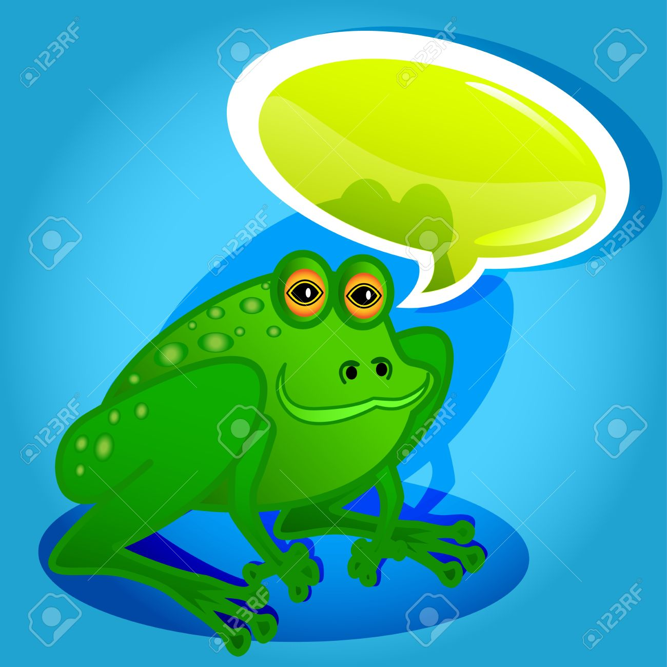 Funny and cute frog cartoon characters talking with glossy speech bubble. Stock Vector - 13069877