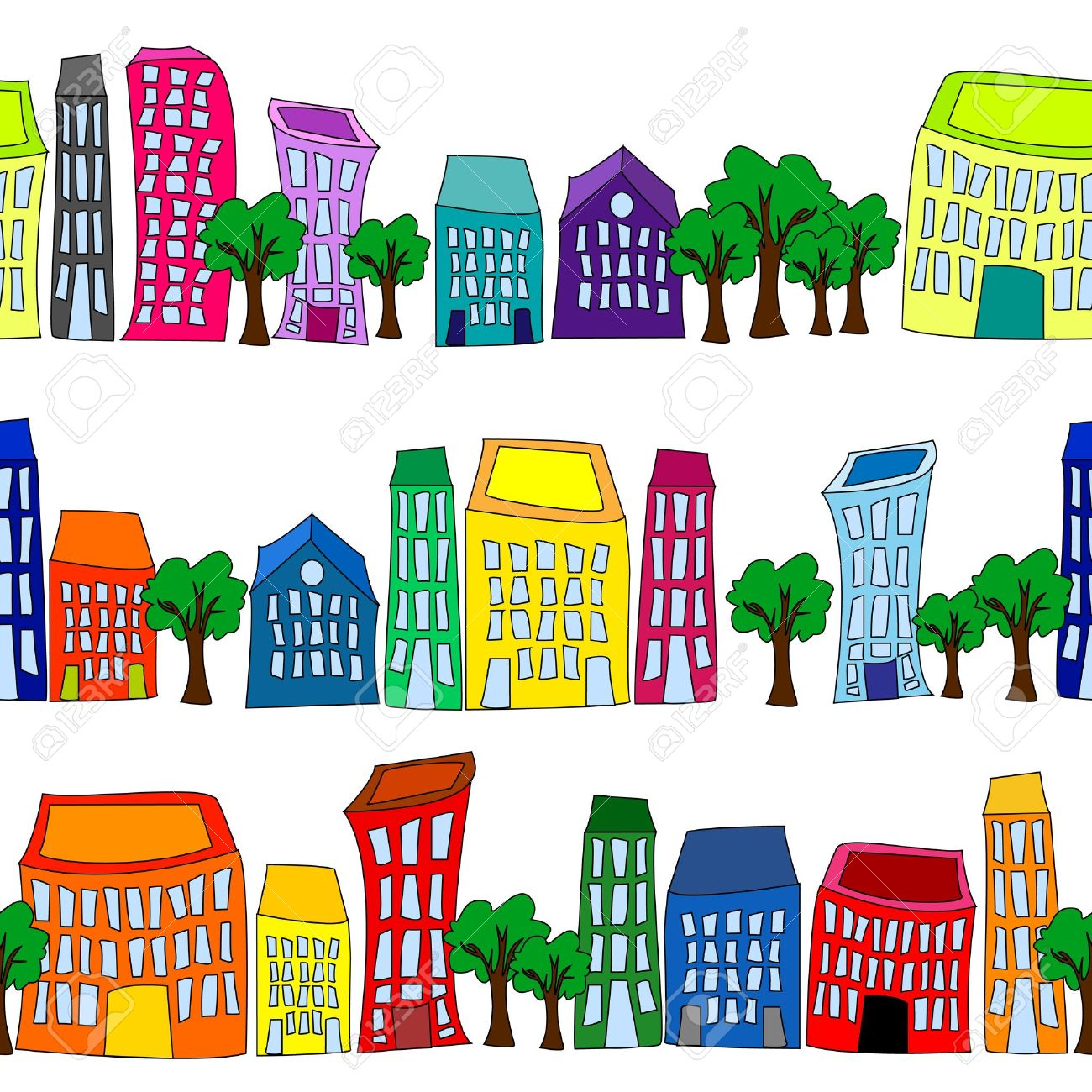 Seamless pattern of colorful crooked cartoon buildings on white background, fun cityscape borders or wallpaper. Stock Vector - 13223080