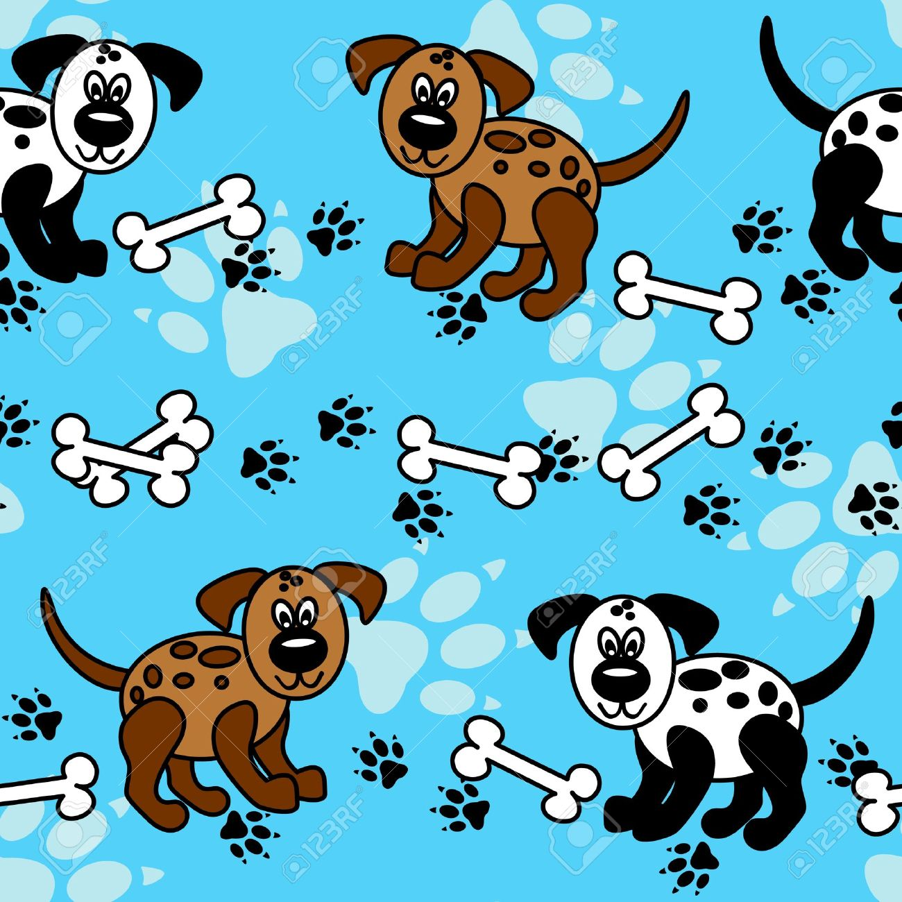 Cute And Fun Spotted Cartoon Dogs With Paw Prints And Bones That