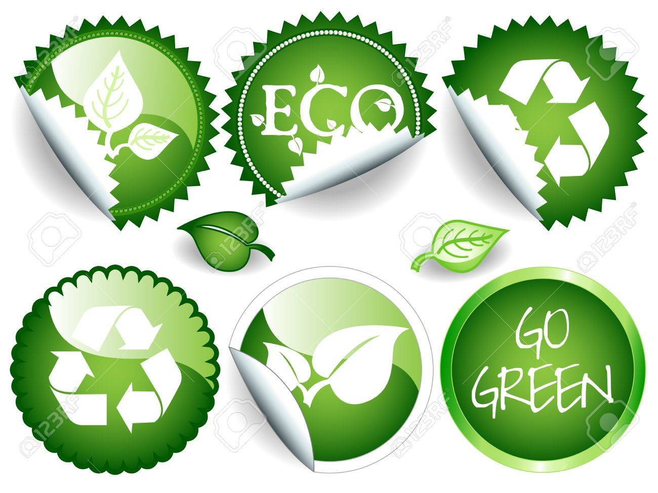 Fun Collection Of Green Stickers In Different Shapes Circle Or