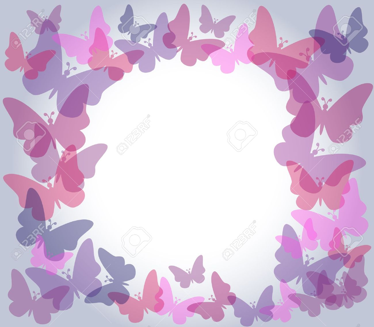 beautiful nature frame with colorful transparent butterflies in shades of pink and purple over light gradient