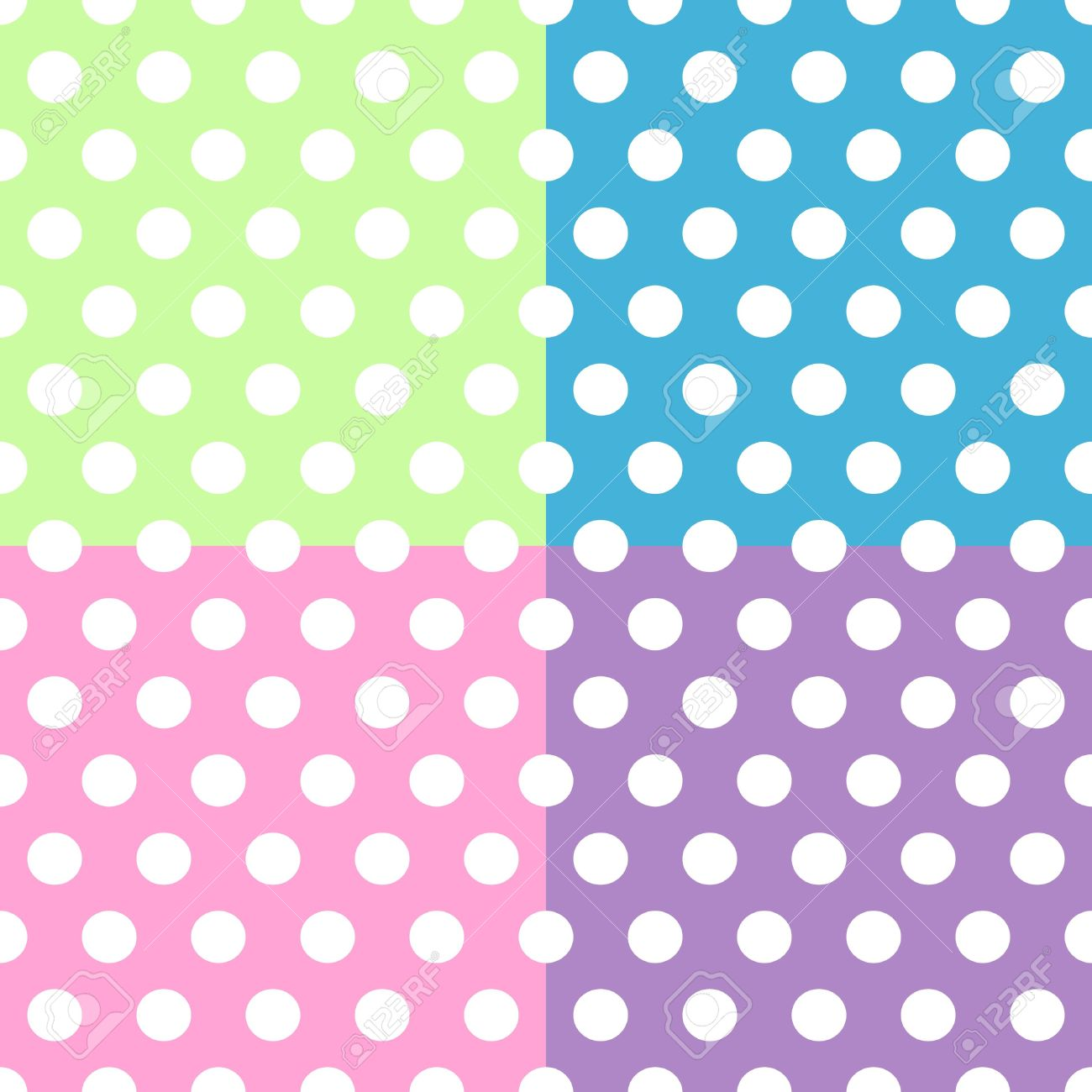Seamless pattern of cute, fun and bold white polka dots patterns over pink, purple, green and blue squares background, can be used separately or together. Stock Vector - 14128188