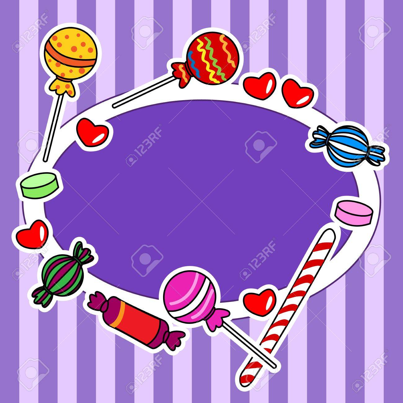 Cute And Fun Hand Drawn Candy Or Other Sweets Over Stripped Background