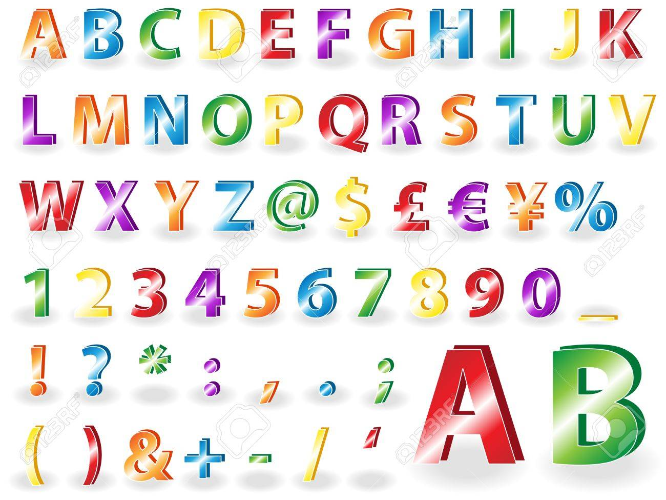 Very Fun Colorful Bold Upper Case Alphabet With Symbols Royalty Free