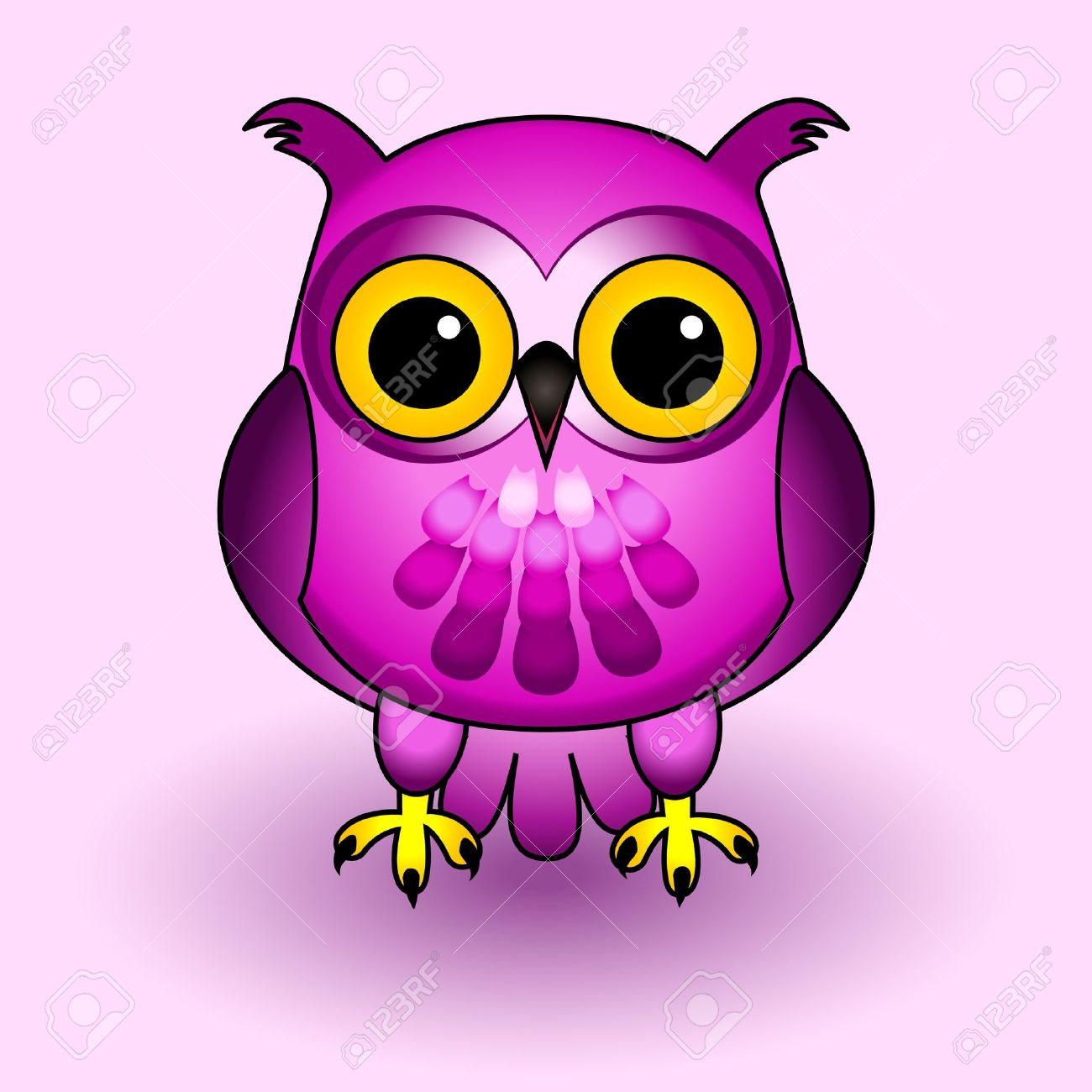 Fun and cute owl cartoon character all in pink and purple tones fun and cute owl cartoon character all in pink and purple tones over soft voltagebd Image collections