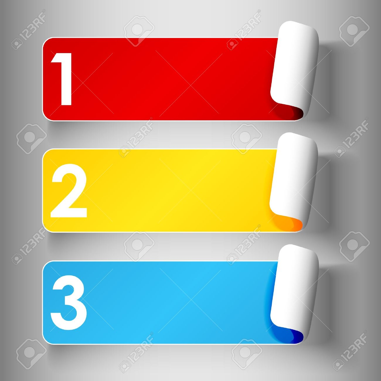 Set 1 of cute and colorful peeling off label or sticker in primary colors with shadows, big 1,2,3, numbers in white over light grey gradient background, ready for your text. - 15627506