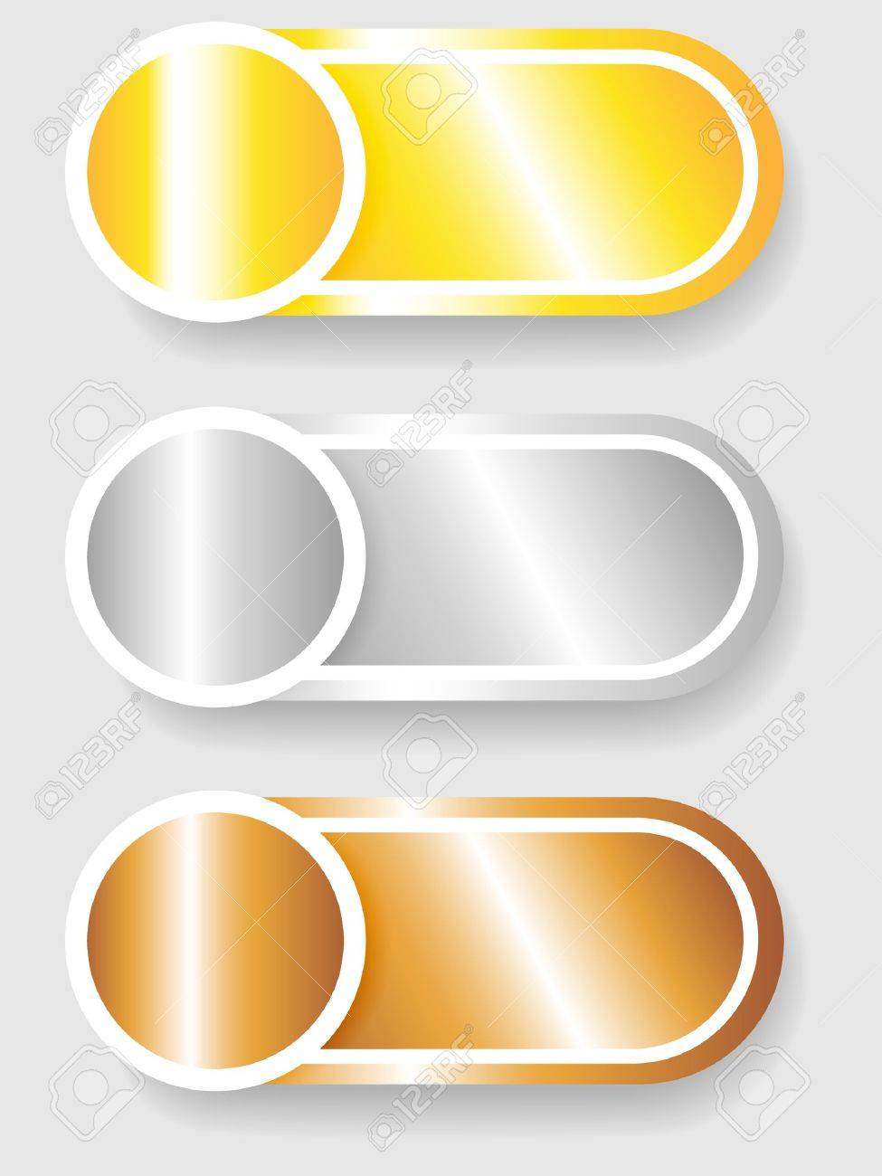 Set 3 of circle with shadow over cylinder label or sticker with shadows, metallic gold, silver and bronze, ready for your text, as web buttons, labels, tags or stickers Stock Vector - 15906374
