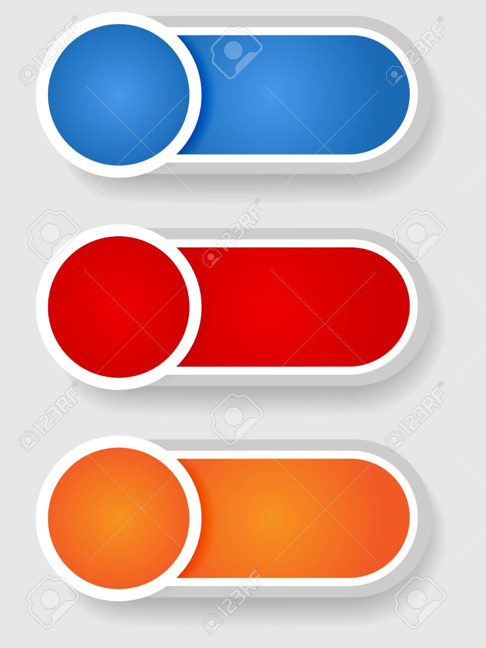 Set 2 of cute circle with shadow over cylinder label or sticker with shadows, gradient colors, ready for your text, as web buttons, labels, tags or stickers Stock Vector - 15906378
