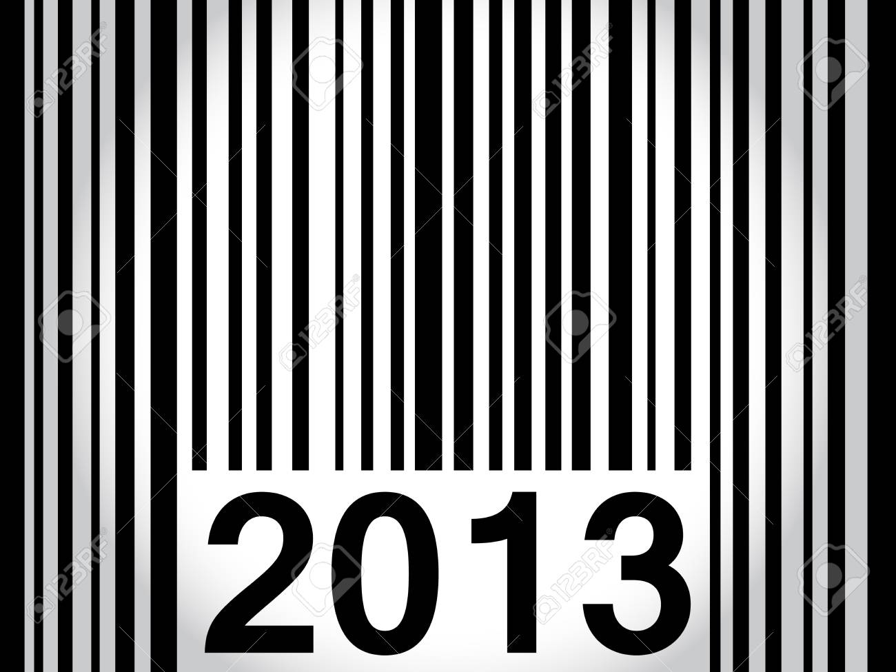 original way to wish happy new year 2013 with bar code in black over white to