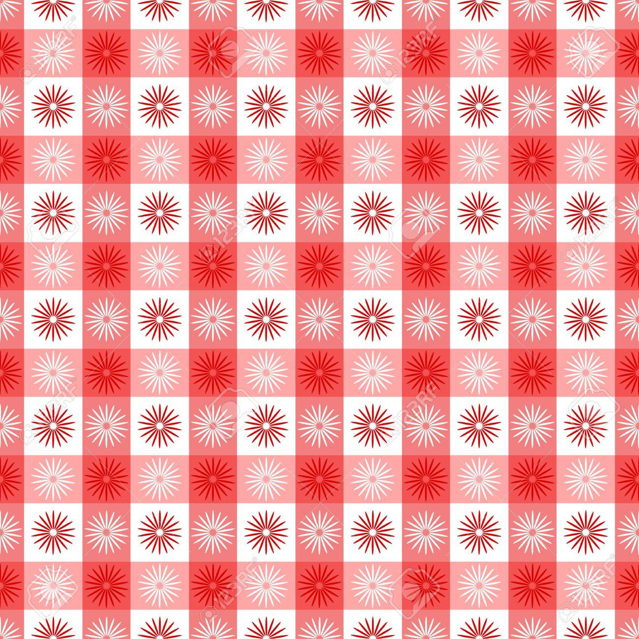 Seamless Red Gingham Geometrical Pattern With Floral Or Sun Symbols Fun Fabric Wallpaper