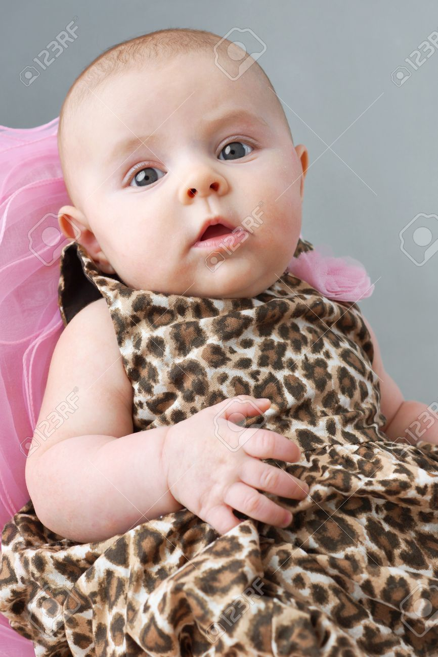 2db64cdfffaa Cute Newborn Baby Girl In Leopard Print Dress