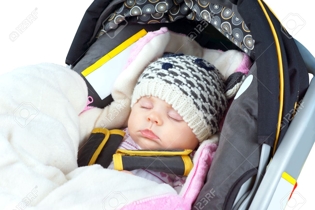 2906914b0c5c Cute Newborn Baby Girl Sleeping In Car Seat