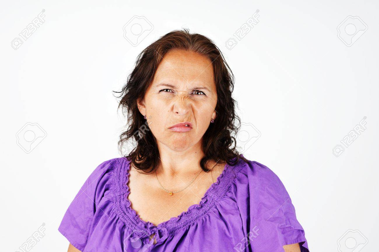 Grimace face clip art stock photo woman pulls a face in upset - Sour Face Grumpy Irritated And Upset Middle Aged Woman