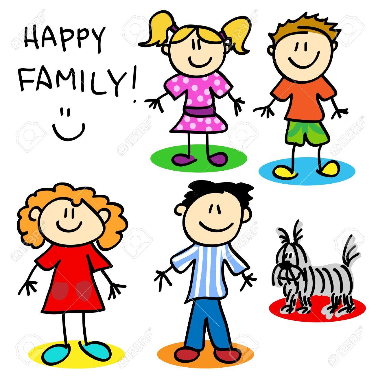 Bâton Fun Famille De Personnage De Dessin Animé Père Mère Petite Fille Petit Garçon Et Le Chien