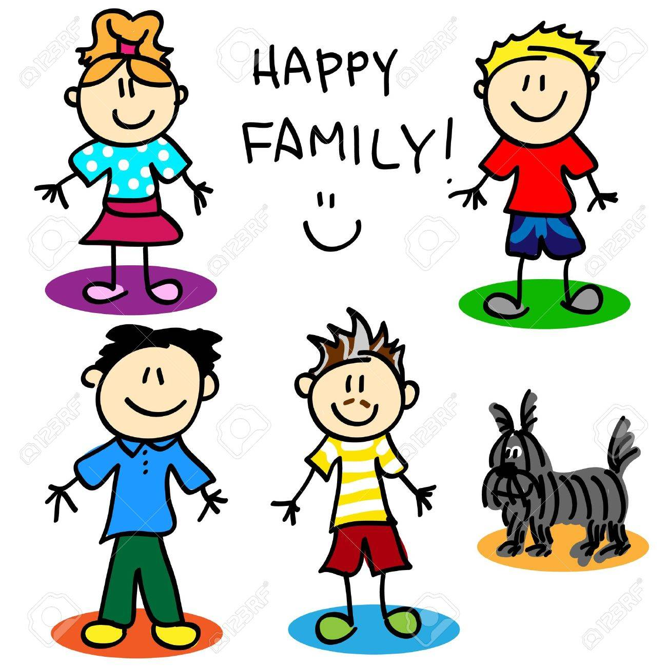 Fun stick figure cartoon gai family with, two fathers, little girl, little boy and dog. Stock Vector - 21934604